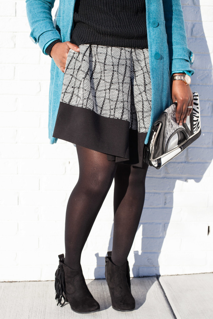 asymmetric skirt + chunky sweater+ blue coat