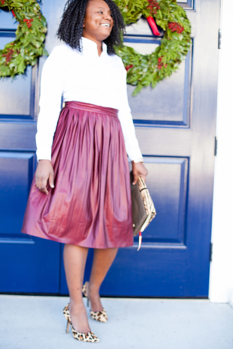 White button down and midi skirt