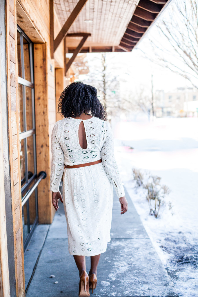 white lace dress and brown belt