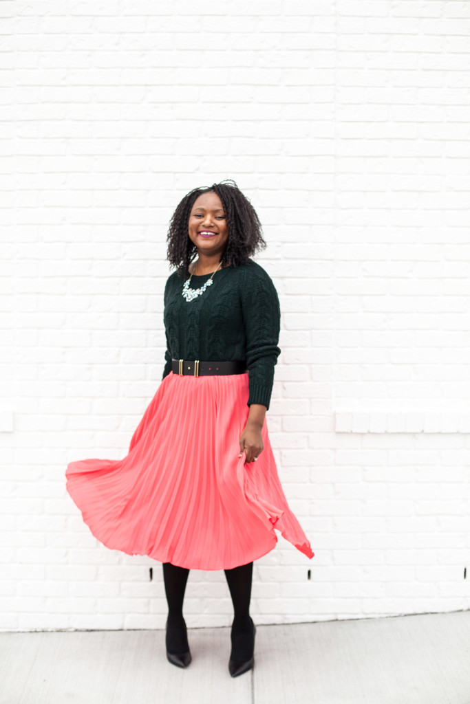 chunky knit + pleated mid skirt