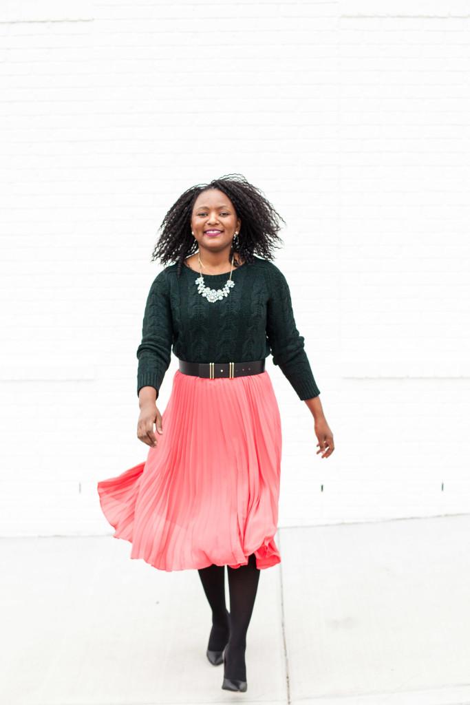 pleated midi skirt + chunky knit