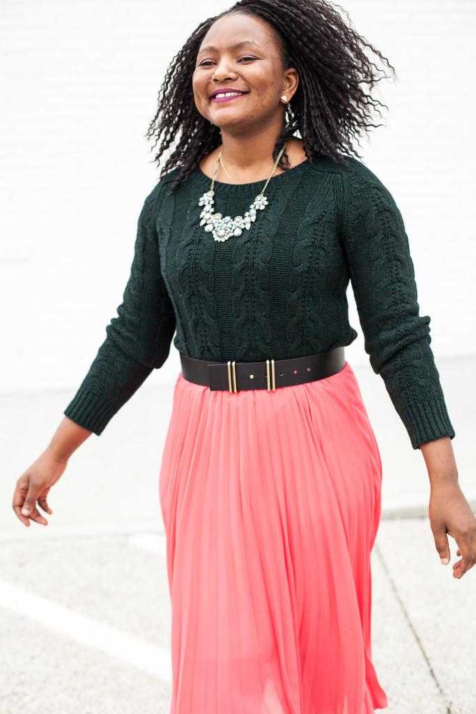 chunky knits + pleated midi skirt