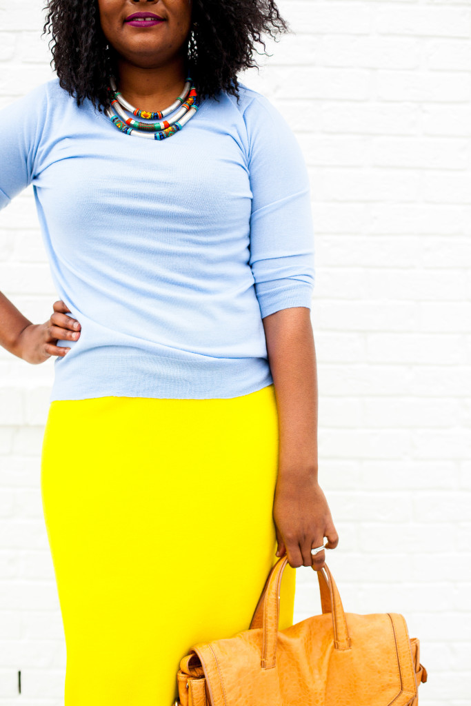 yellow skirt + tribal necklace
