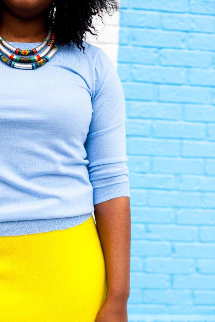 yellow sweater skirt + Blue sweater