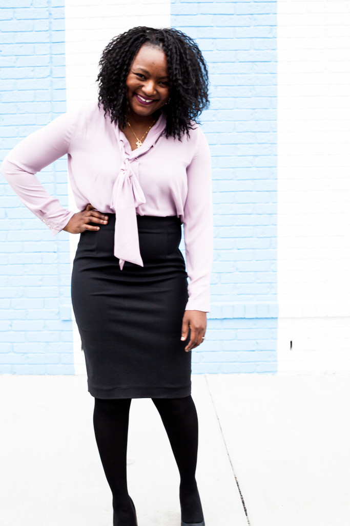 pencil skirt + bow blouse