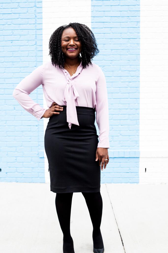 pencil skirt + bow blouse