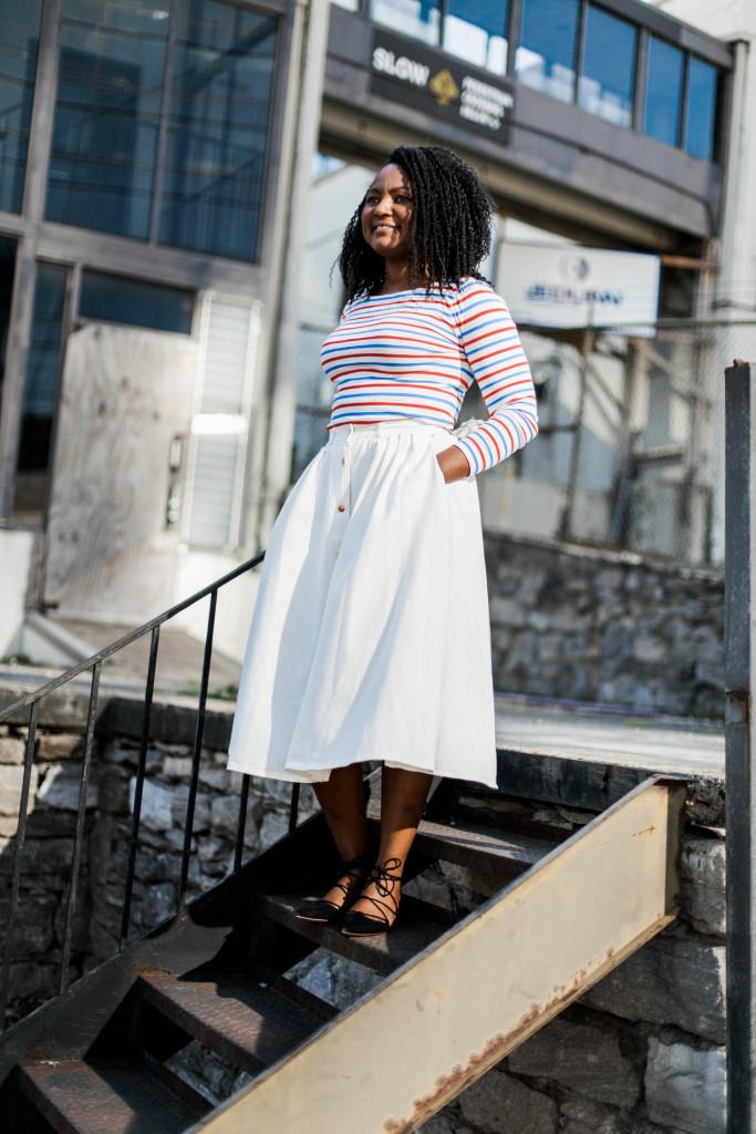 white denim skirt and multistripe tee