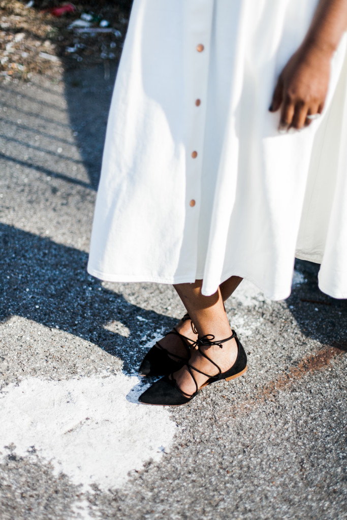 white denim flared skirt and lace up flats