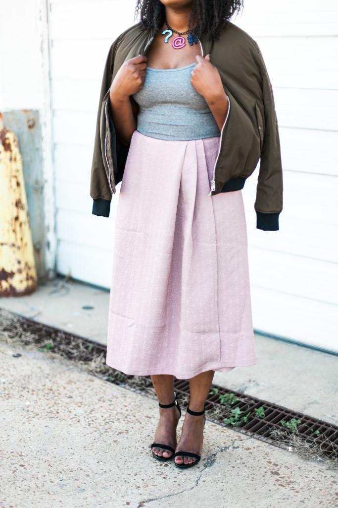 Grey Tank and Pink Skirt