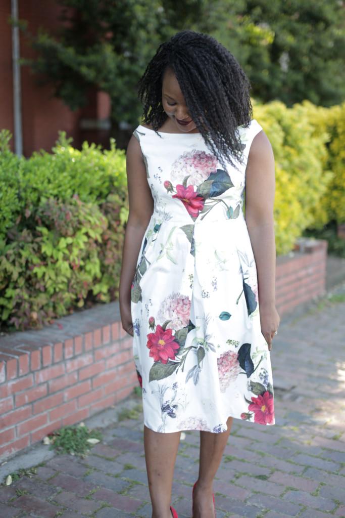 Botanical Floral Off the shoulder dress