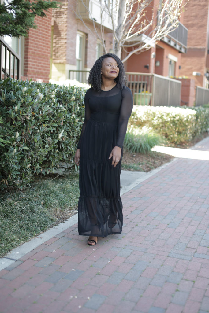 black tier maxi dress