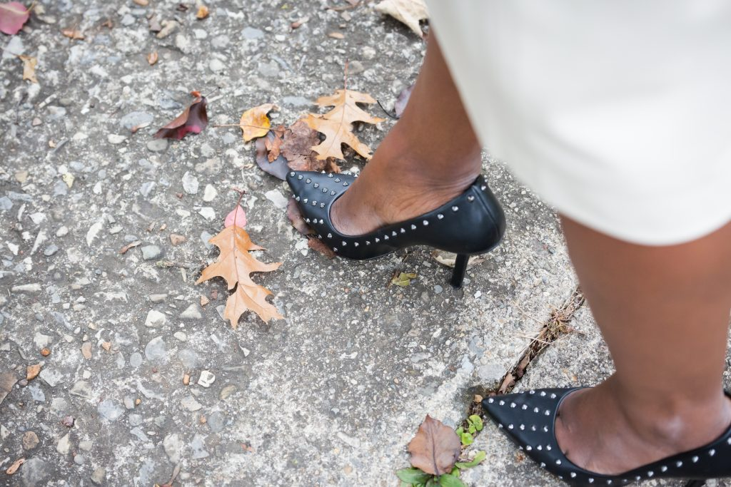 how to style a faux leather skirt for the office by popular Ohio style blogger XO Beverly