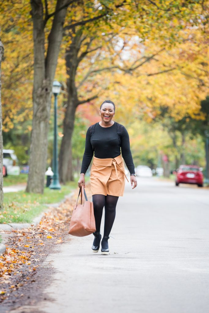 wrap mini skirt styled by Ohio fashion blogger Xo Beverly